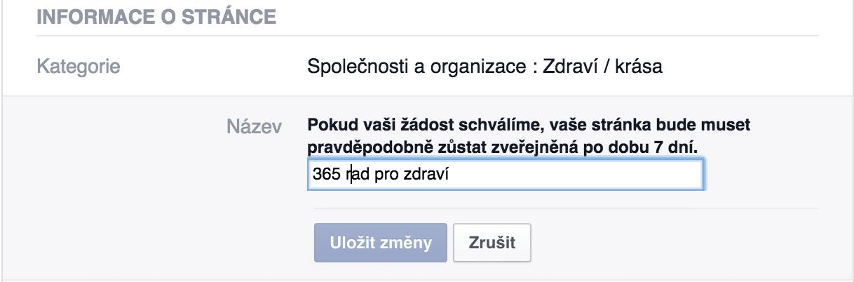 Změna názvu facebook stránky