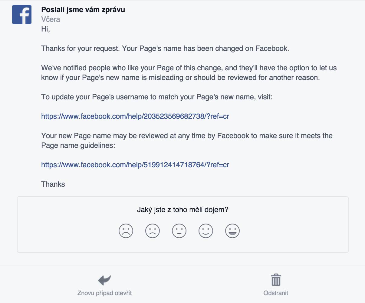 facebook stránka - žádost změny názvu stránky