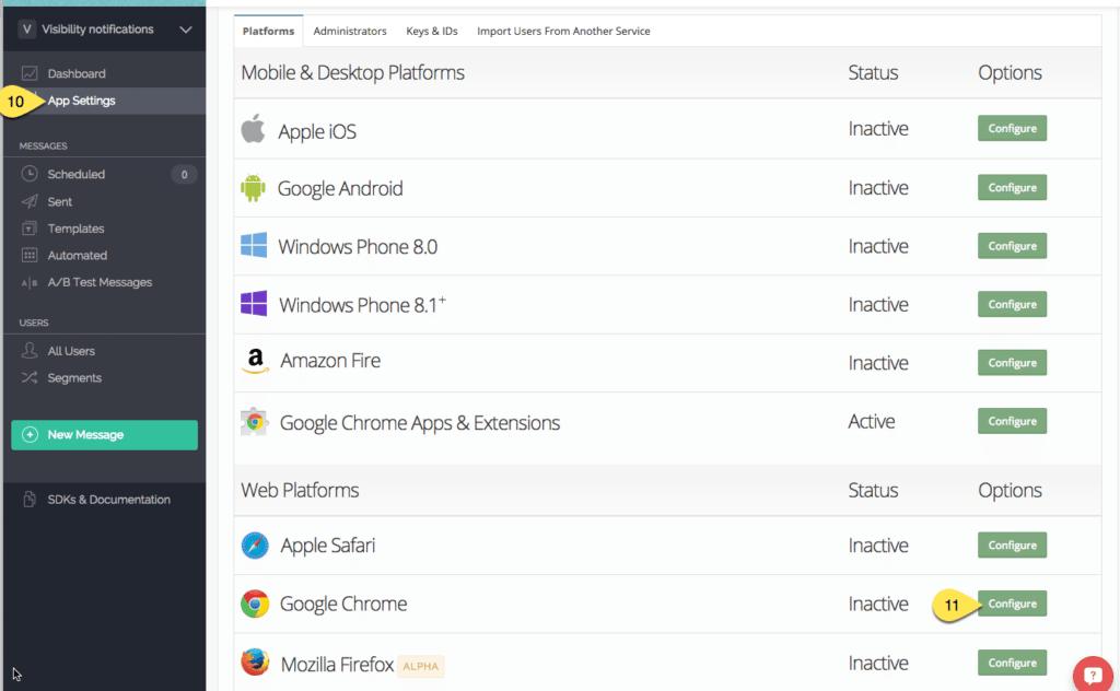 nastavení aplikace aktivace prohlížeců