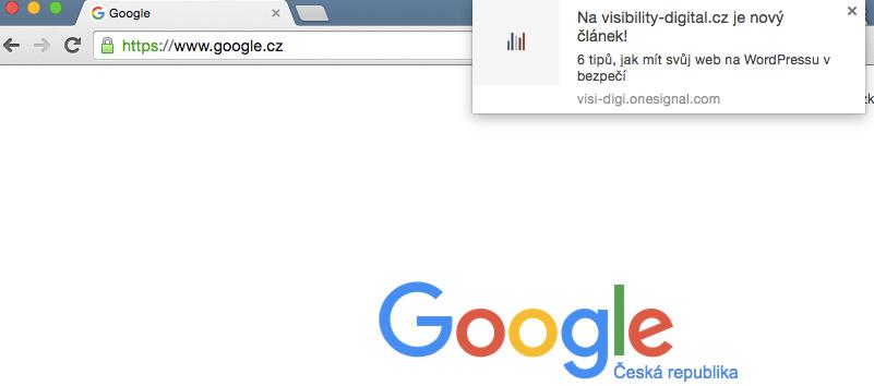 google chrome notifikace