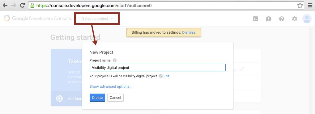 google console developers vytvořit projekt