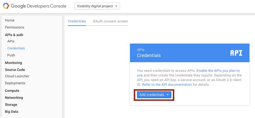 google console developers API add credentials